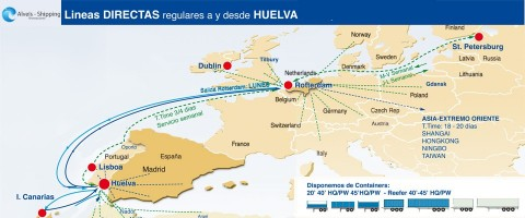 Rutas directas regulares a y desde Huelva de la naviera Alveis Shipping.