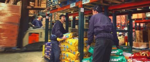 trabajadores en almacen