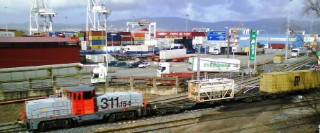 Tren Guixar en puerto de Vigo