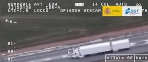 Test de la DGT con un megacamión en tráfico real