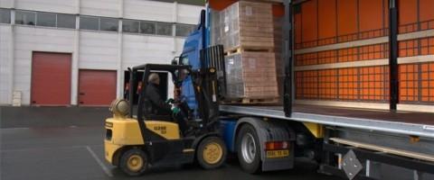 carretilla cargando un camion